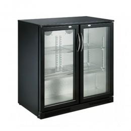 Réfrigérateur de bar deux portes vitrées noir 198L