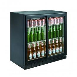 Réfrigérateur de bar deux portes vitrées coulissantes noir 198L