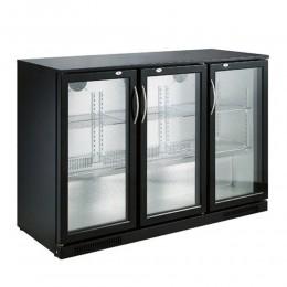 Réfrigérateur de bar trois portes vitrées noir 298L