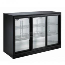 Réfrigérateur de bar trois portes vitrées coulissantes noir 298L