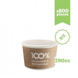 """Pots à glace en carton bio compostable """"Havana"""" 290cc 800pcs"""
