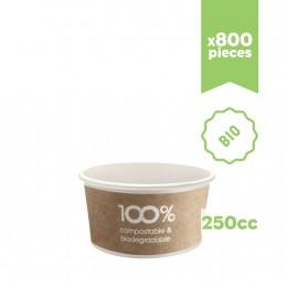 """Pots à glace en carton bio compostable """"Havana"""" 250cc 800pcs"""